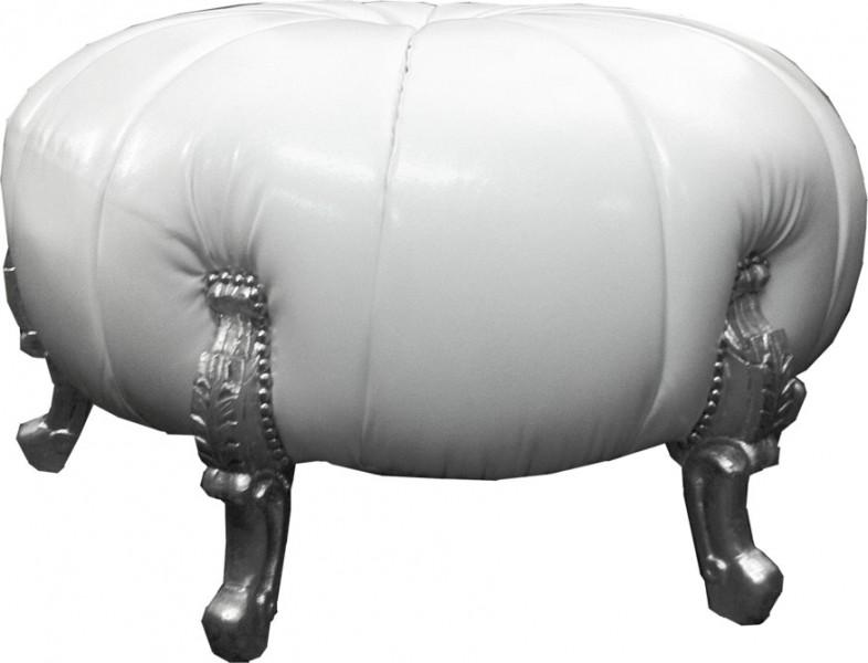 gro er barock rundhocker ball hocker wei lederoptik. Black Bedroom Furniture Sets. Home Design Ideas