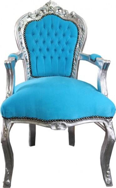 barock esszimmer stuhl t rkis silber mit armlehnen st hle. Black Bedroom Furniture Sets. Home Design Ideas
