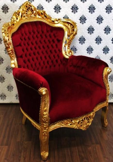 Barock Sessel King Bordeaux/Gold   Möbel Antik Stil Sessel Modell