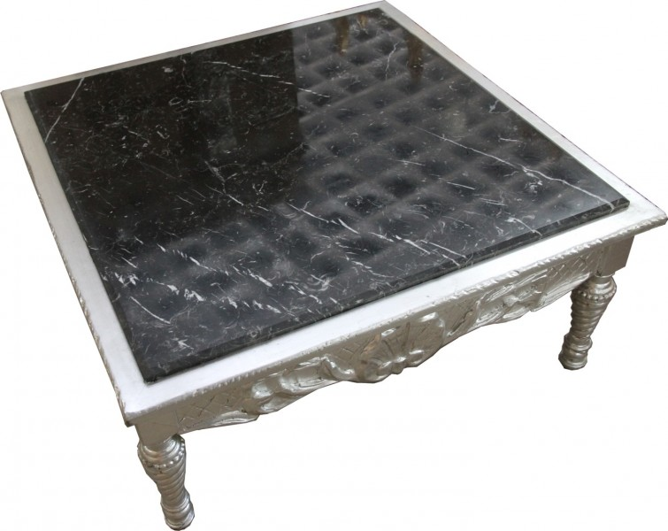Casa Padrino Barock Couchtisch Silber mit schwarzer