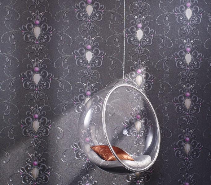 harald gl ckler designer barock tapete deux 54425 silber rosa designer tapete harald. Black Bedroom Furniture Sets. Home Design Ideas