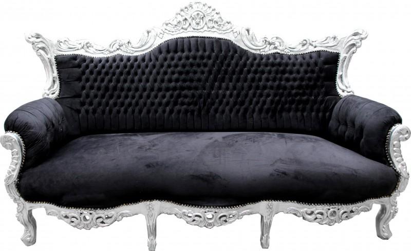 casa padrino barock sofa master schwarz silber m bel couch lounge sofas. Black Bedroom Furniture Sets. Home Design Ideas