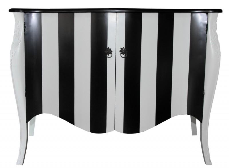 casa padrino barock kommode schwarz wei streifen 120cm. Black Bedroom Furniture Sets. Home Design Ideas