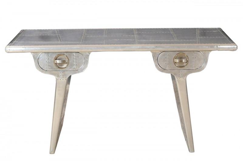 Casa Padrino Aluminium Flugzeug Flieger Airwing Schreibtisch Tisch Sekretär  Möbel